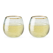 Garden Party - Gold Rim Bubble Wine Glasses (Set of 2)