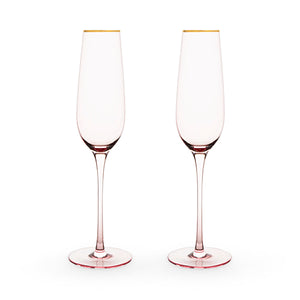 Garden Party: Rose Crystal Champagne Flute Set