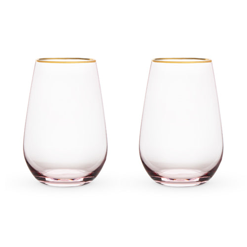 Garden Party: Rose Crystal Stemless Wine Glass Set