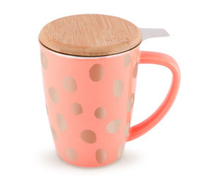 Bailey Peach and Copper Ceramic Tea Mug & Infuser