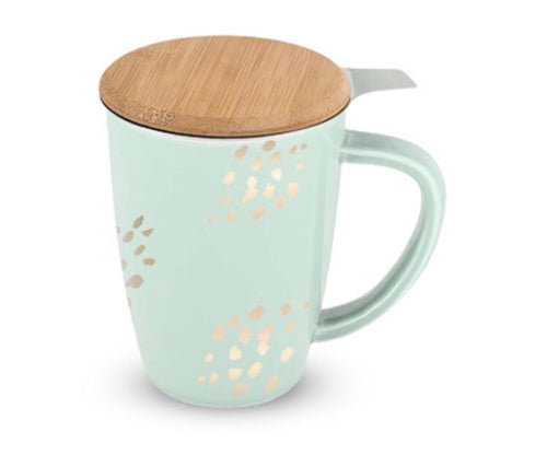 Bailey Champagne Dots Ceramic Tea Mug & Infuser