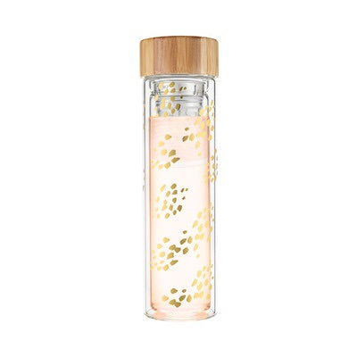 Blair Champagne Gold Dots Glass Travel Infuser Mug