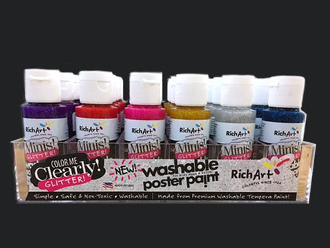 Richart 24-Count Washable Glitter Paints in tray