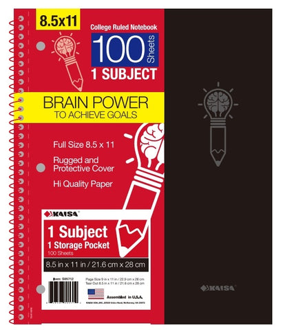 100-Sheet College-Ruled 1-Subject Premium Spiral Notebook