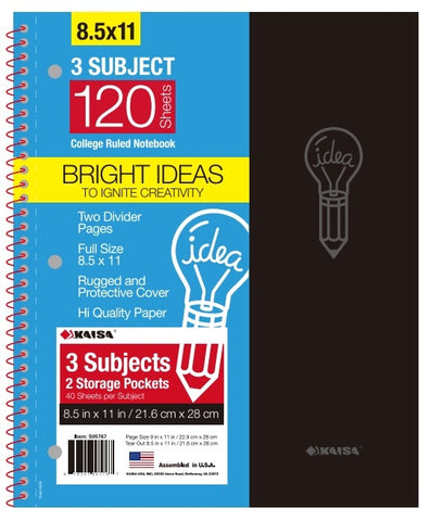 120-Sheet College-Ruled 3-Subject Premium Spiral Notebook