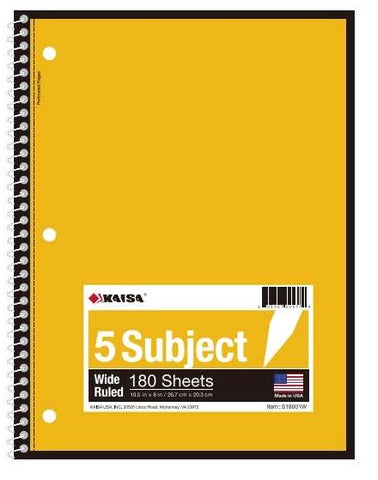 180-Sheet Wide-Ruled 5-Subject Spiral Notebook
