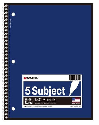 180-Sheet College-Ruled 5-Subject Spiral Notebook