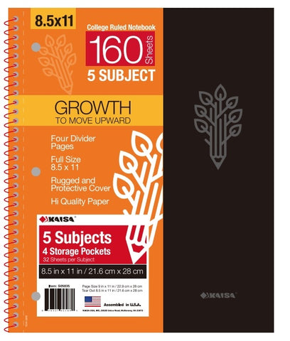 160-Sheet College-Ruled 5-Subject Premium Spiral Notebook