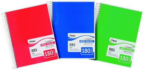Mead 5-Subject Wide Ruled Assorted Color Notebooks 180 Sheets
