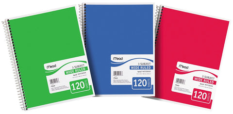 Mead 3-Subject Wide Ruled Notebook