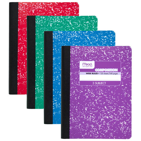 Mead 3-Subject Color Composition Book