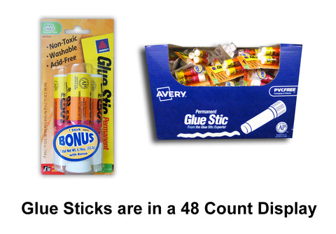 AVERY 2+1 GLUE STICKS IN DISPLAY