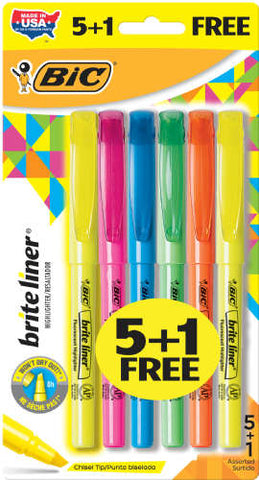 Bic 5+1 Count Chisel Tip Brite Liner Assorted Color Highlighers