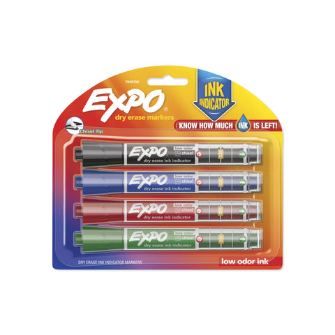Expo 4-Count Chisel Tip Assorted Color Dry Erase Markers - Low Ink Indicator