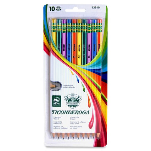 10-Count Pre-Sharpened #2 Pencils - Striped