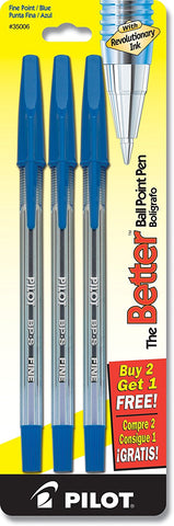 Pilot 3-Count Clear Barrel Ballpoint Blue Ink Pens