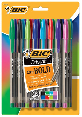 24-Count Cristal Assorted Ink Stick Pens