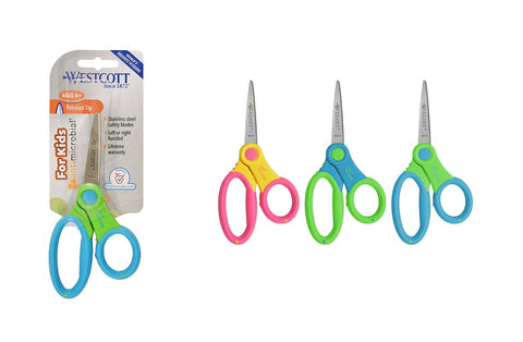 "Westcott Pointed 5"" Antimicrobial Soft Grip Assorted Color Scissors"