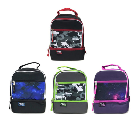 Polar Pack Assorted Fashion Color Drop Bottom Lunch Kits