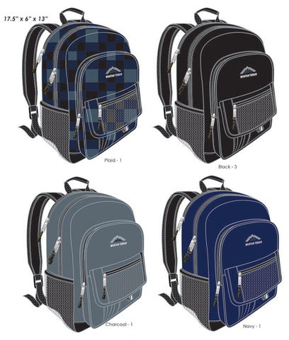 Mountain Terrain Triple Pocket Backpacks in Assorted Colors