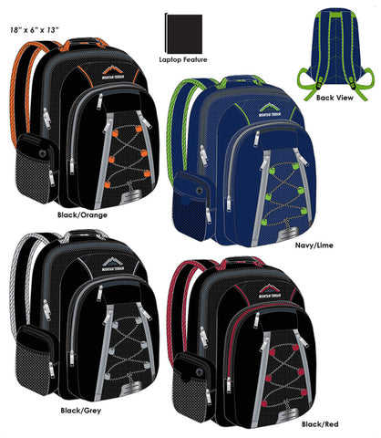"Mountain Terrain 17"" Nylon Backpack with Reflectors in Assorted Colors"