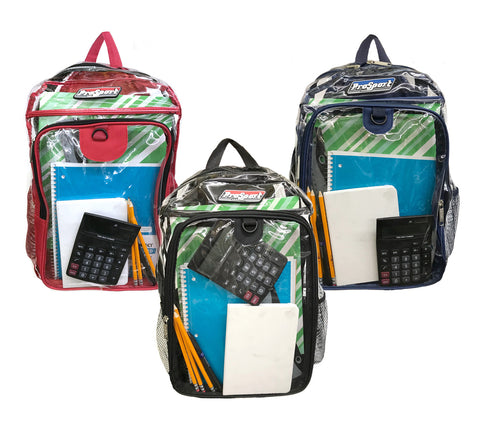 "Prosport 17"" Clear PVC Backpacks in Assorted Colors"