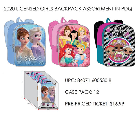Assortment of 4 Character Backpacks - Frozen 2, Disney Princesses and LOL! Surprise