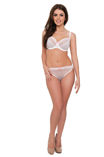 Curvy Kate Portia Thong Pink and White Size 8