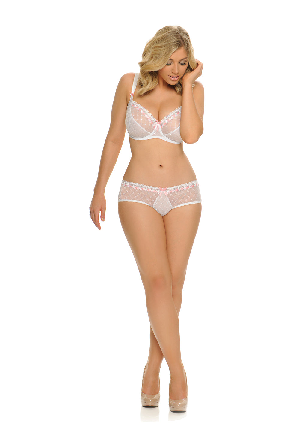 Curvy Kate Portia Short in Pink and White