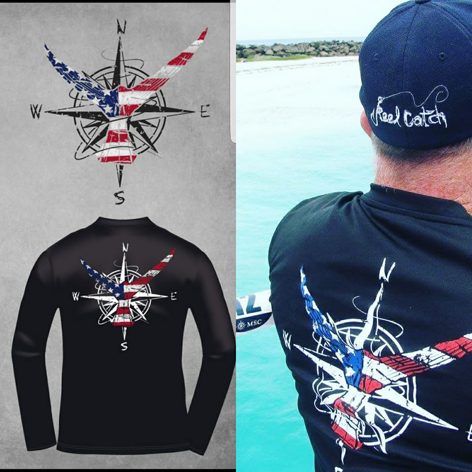 Nautical Patriotic Marlin Tail Signature Series Mens Performance Black