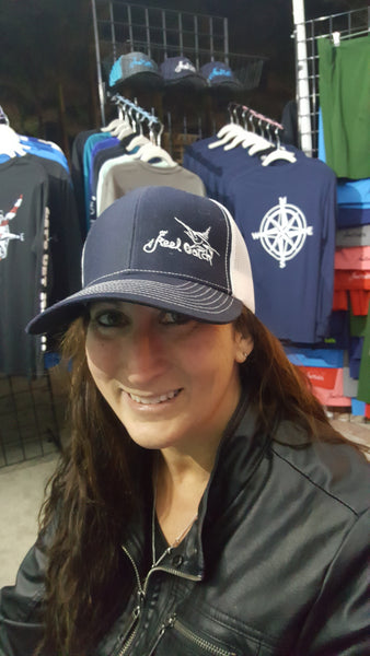 Navy and White Marlin Trucker