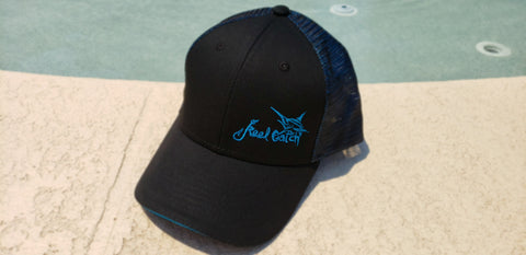 Marlin Black Blue Trucker Double Mesh Snap-back