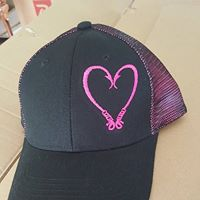 Reel Catch Hook Heart Trucker Double Mesh Snap-back