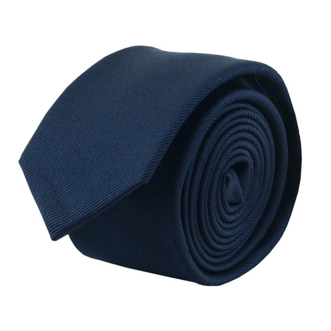 100% Silk Handmade Navy Blue 2 Inch Skinny Tie Men's Necktie - Galleria Brands