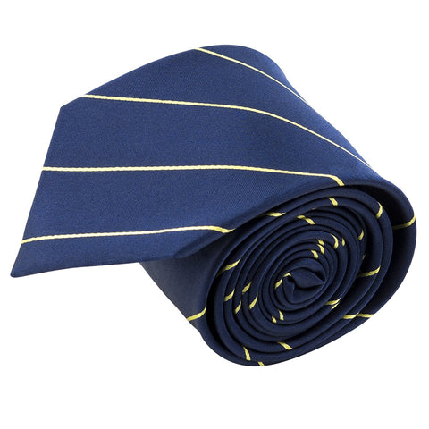 100% Silk Handmade Navy Blue & Yellow Pencil Striped Tie Men's Necktie - Galleria Brands