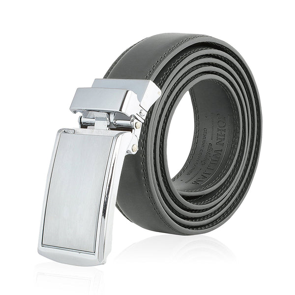 Men's Genuine Leather Ratchet Belt: Stainless Steel Buckle Dress Belts for Business, Formal & Casual Wear - Grey / Gray - Galleria Brands