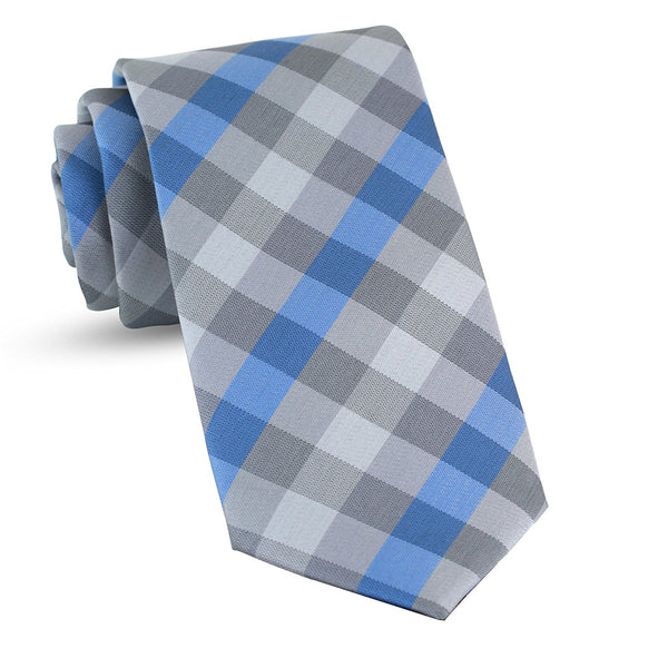 Handmade Plaid Ties For Men Skinny Woven Blue Slim Gingham Mens Ties: Thin Tie & Necktie, Stylish Neckties For Every Outfit - Galleria Brands