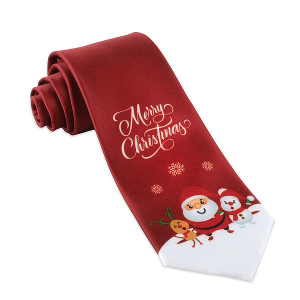 John William Mens Merry Christmas Ties For Men Gift Necktie Holiday Santa & Deer Tie - Galleria Brands
