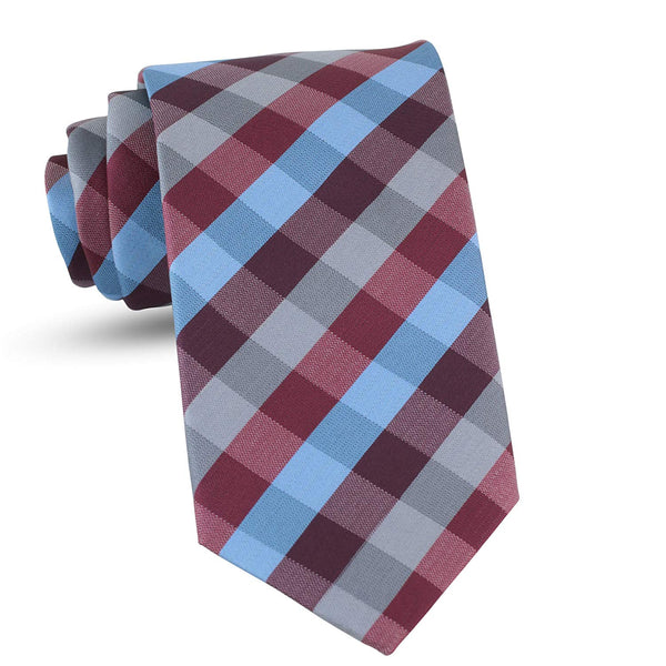 Handmade Plaid Ties For Men Skinny Woven Burgundy Slim Gingham Mens Ties: Thin Tie & Necktie, Stylish Neckties For Every Outfit - Galleria Brands