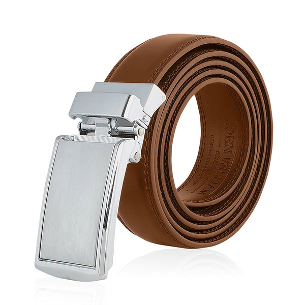 Men's Genuine Leather Ratchet Belt: Stainless Steel Buckle Dress Belts for Business, Formal & Casual Wear - Tan - Galleria Brands