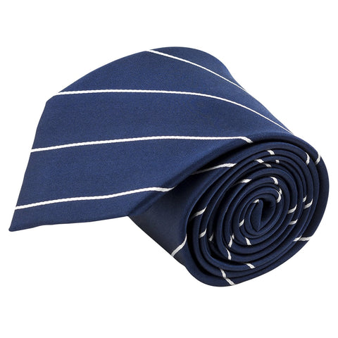 100% Silk Handmade Navy Blue & White Pencil Striped Tie Men's Necktie - Galleria Brands