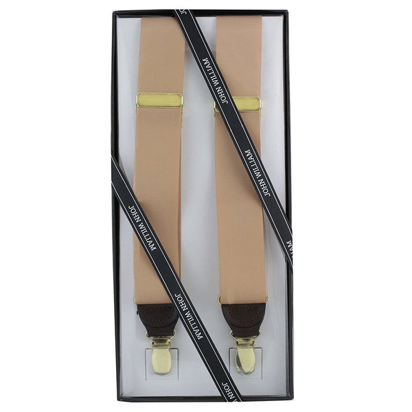 Men's Premium Y-Back Formal Dress Tuxedo Suspenders Gift Boxed by John William (Tan) - Galleria Brands