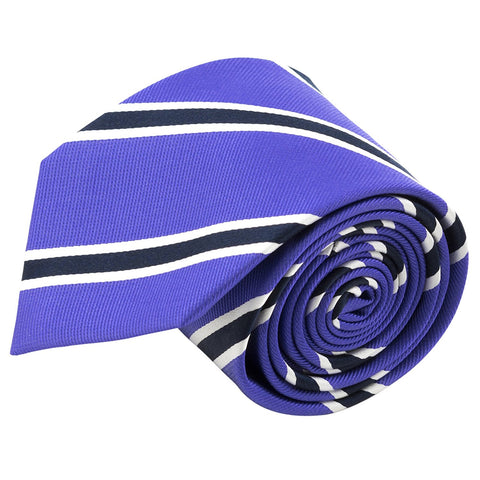 100% Silk Handmade Purple & Blue Striped Tie Men's Necktie - Galleria Brands