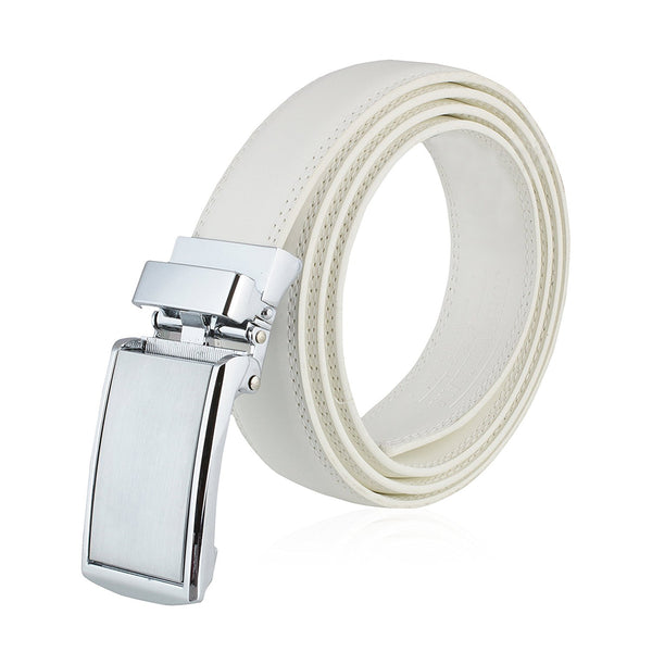 Men's Genuine Leather Ratchet Belt: Stainless Steel Buckle Dress Belts for Business, Formal & Casual Wear - White - Galleria Brands