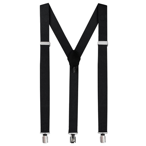 Tuxedo Suspenders for Men: Clip Style Braces - Y Back Design - (Black) - Galleria Brands