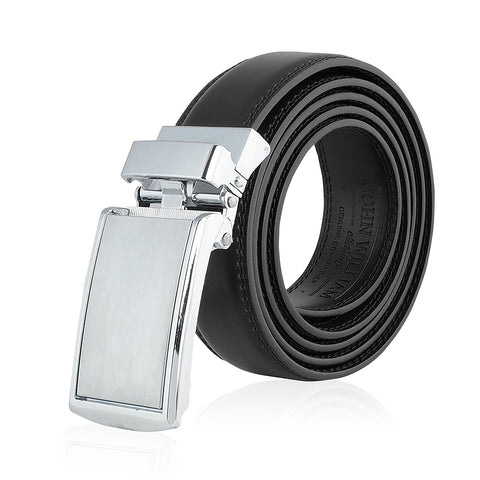 Men's Genuine Leather Ratchet Belt: Stainless Steel Buckle Dress Belts for Business, Formal & Casual Wear - Black - Galleria Brands