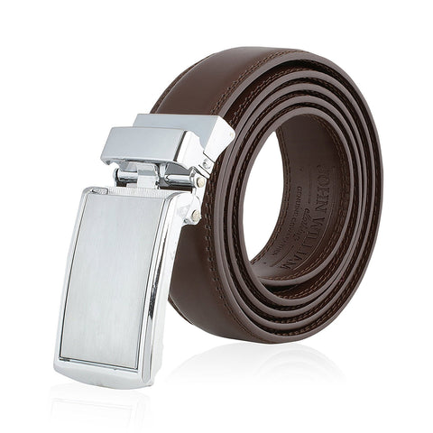 Men's Genuine Leather Ratchet Belt: Stainless Steel Buckle Dress Belts for Business, Formal & Casual Wear - Brown - Galleria Brands
