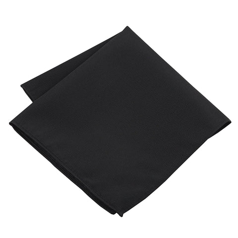 100% Silk Woven Black Pocket Square Handkerchief - Galleria Brands