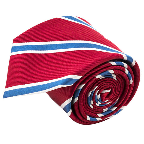 100% Silk Handmade Red & Blue Striped Tie Men's Necktie - Galleria Brands