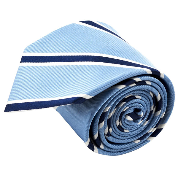 100% Silk Handmade Blue Striped Tie Men's Necktie - Galleria Brands